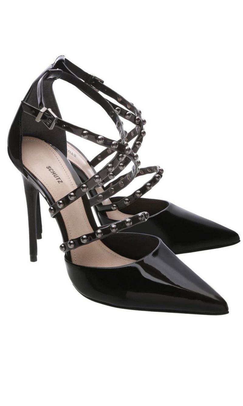 Black patent leather and silver embellished stiletto shoes - SCHUTZ