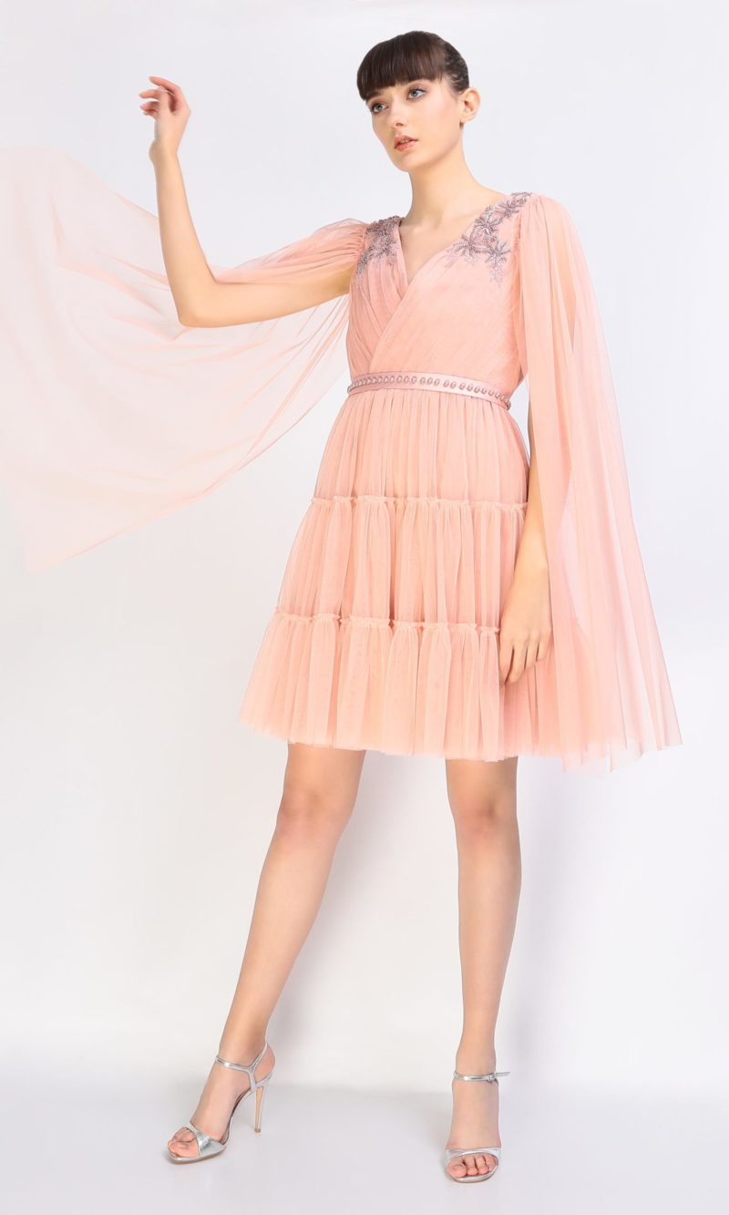 DARIA powder pink short tulle evening dress with pink embroidery