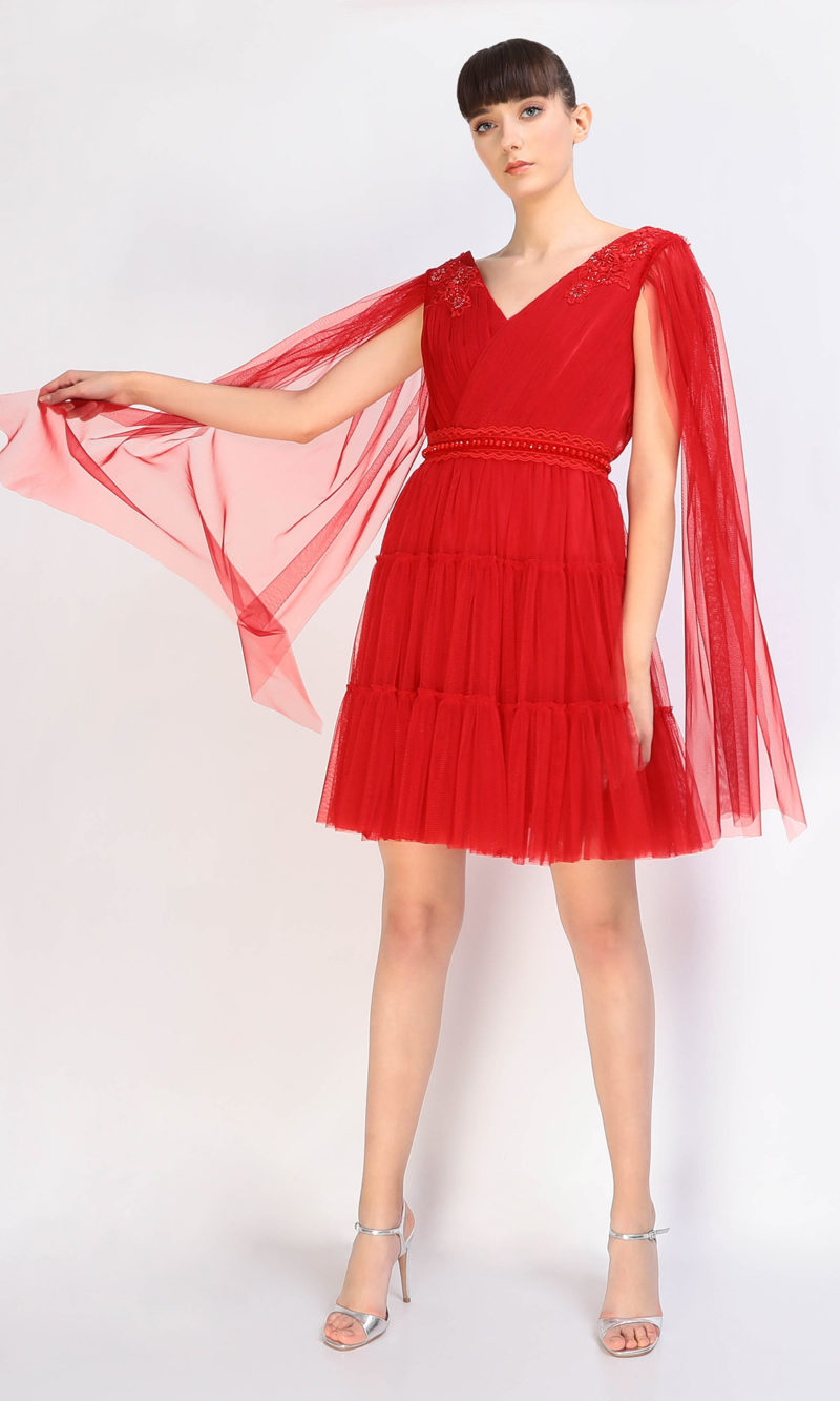 DARIA short red tulle evening dress