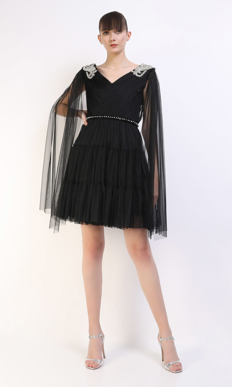 DARINA black short tulle evening dress