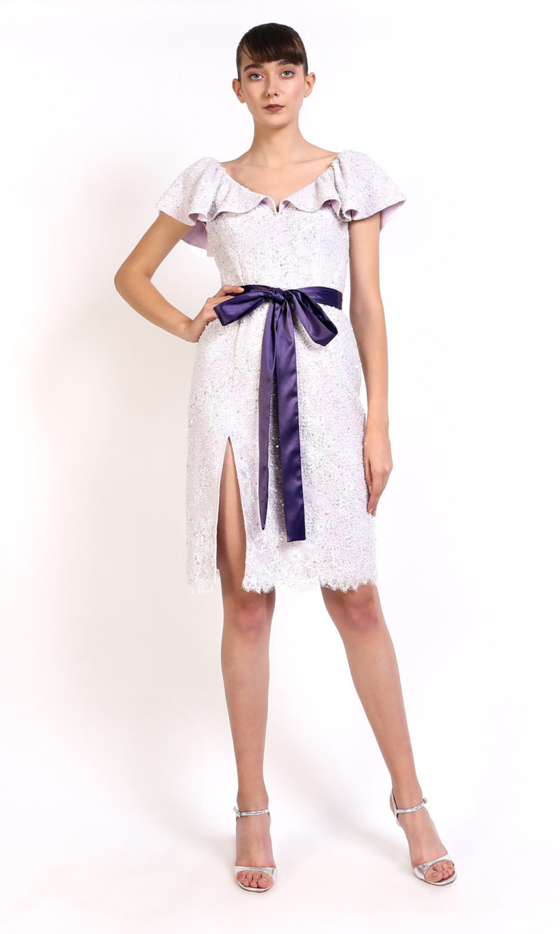 ODETTE lavender violet embroidery short evening dress