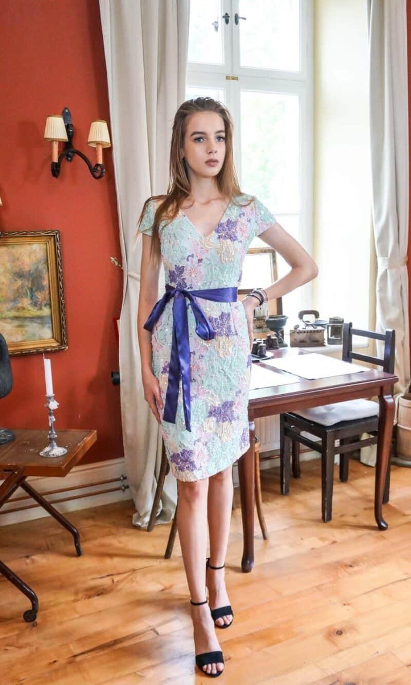 RAMONNE pastel colour embroidery short evening dress