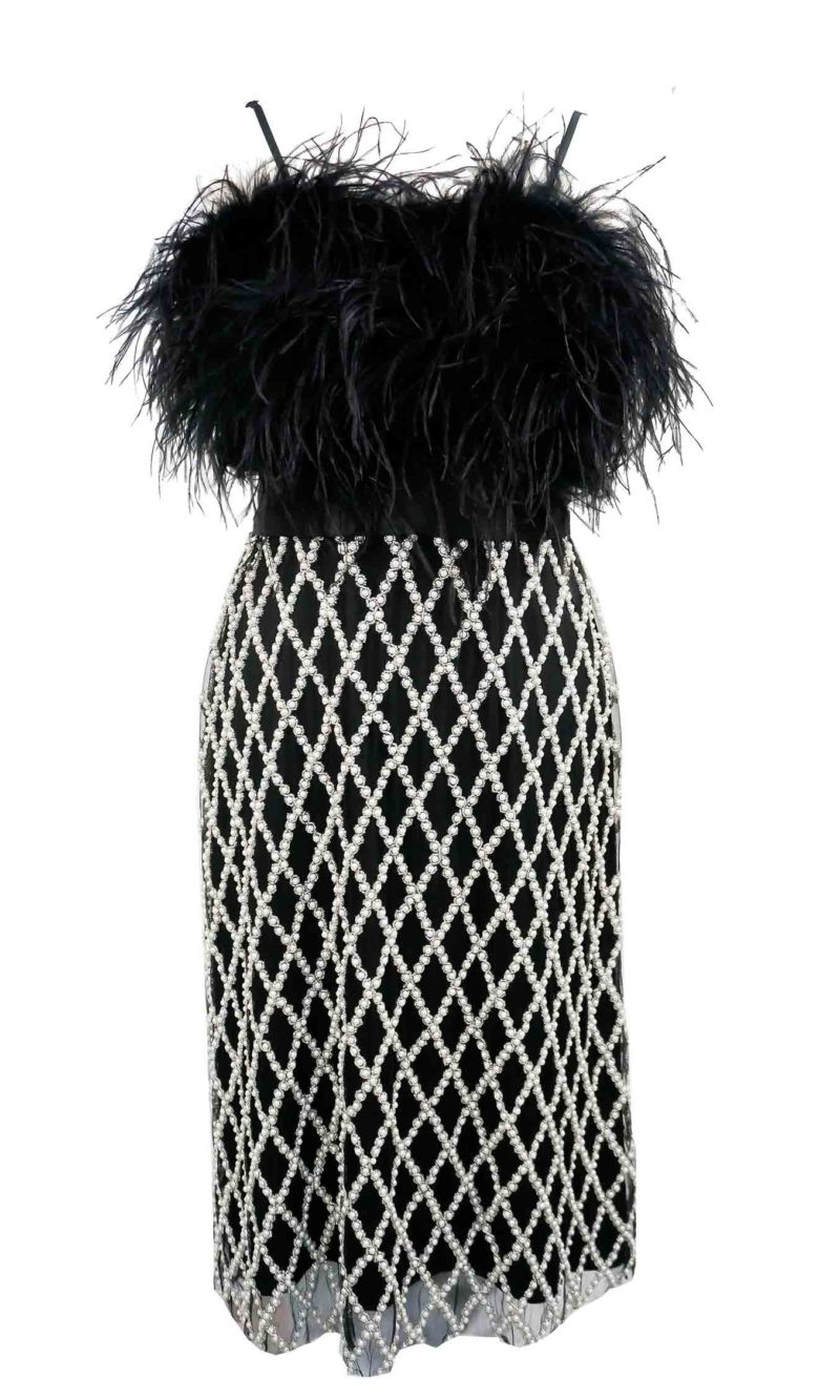 BRIANNE midi evening dress with pearl embroidery and ostrich feathers