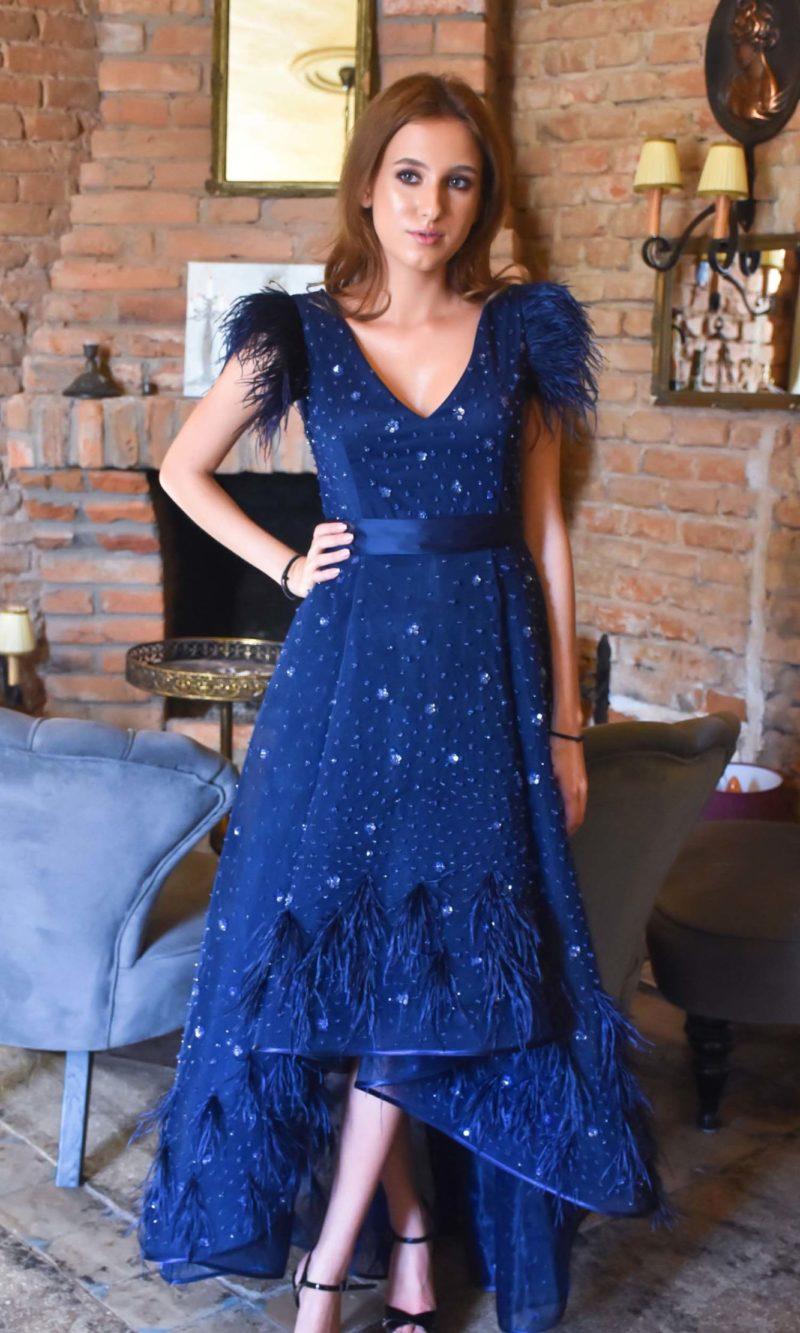 FRANCIA midi evening dress with dark blue embroidery and feathers