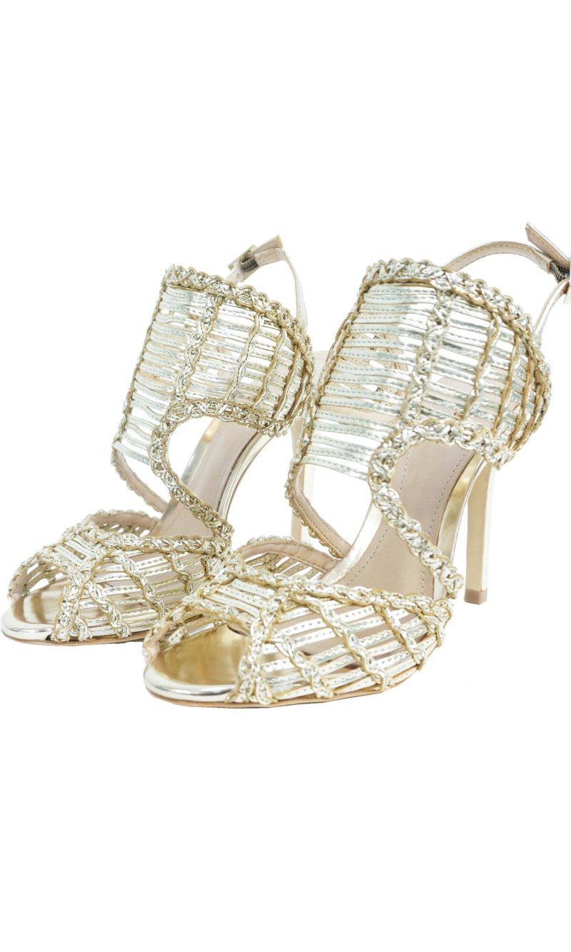 Gold leather comfortable evening knitted sandals - SCHUTZ