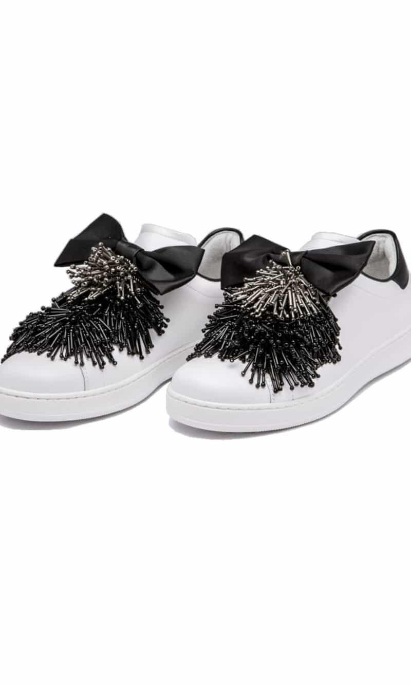 White and black embellished elegant leather sneakers - Pokemaoke