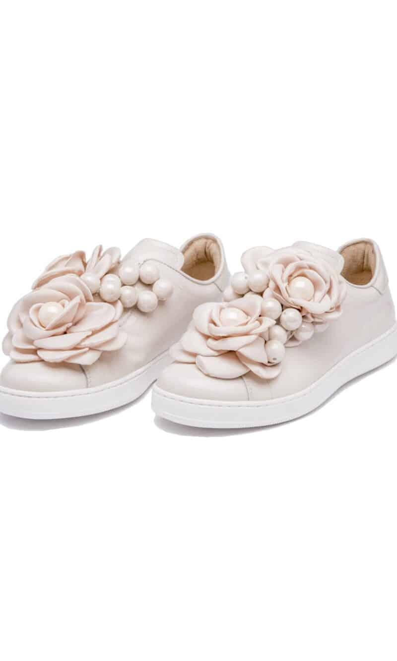 Powder pink pearl embellished elegant patent leather sneakers - Pokemaoke