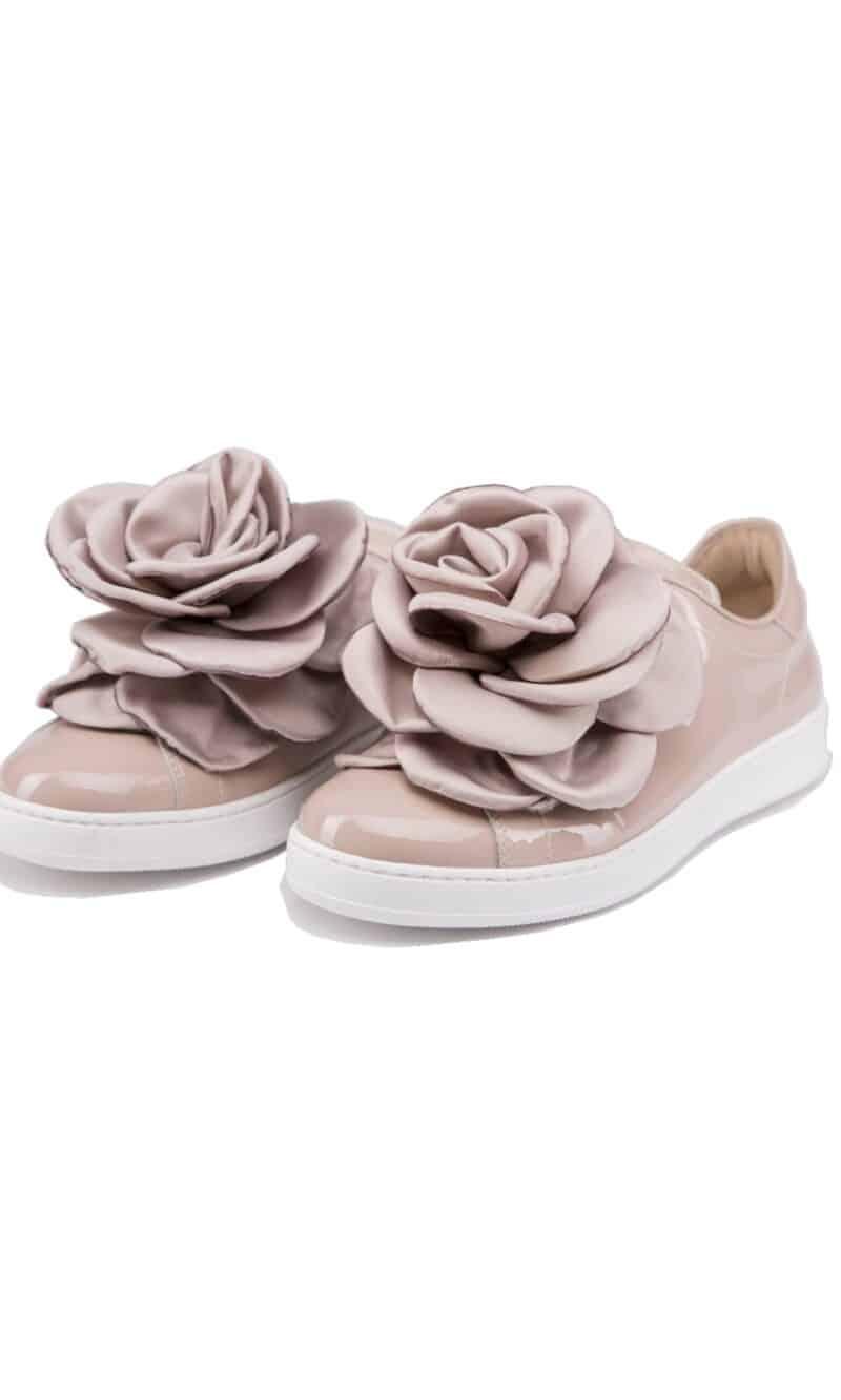 Dark pink flower embellished elegant patent leather sneakers - Pokemaoke