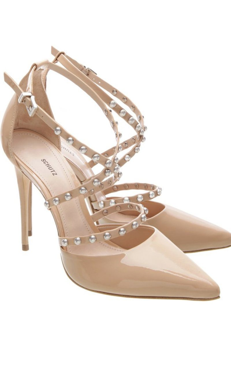 Nude patent leather and silver embellished stiletto heels - SCHUTZ