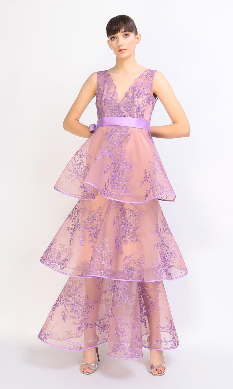 NOELIA purple ruffled convertible evening dress