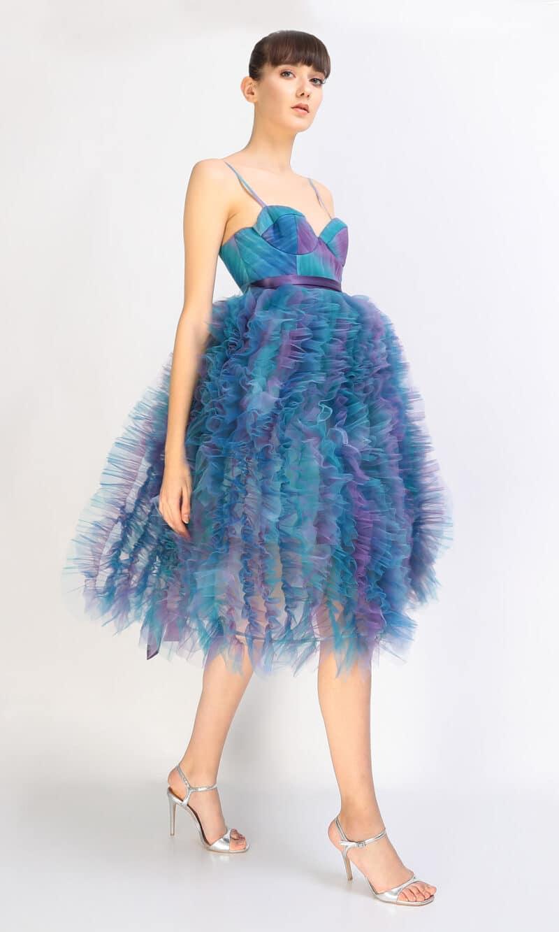 KIARA gradient turquoise midi dress