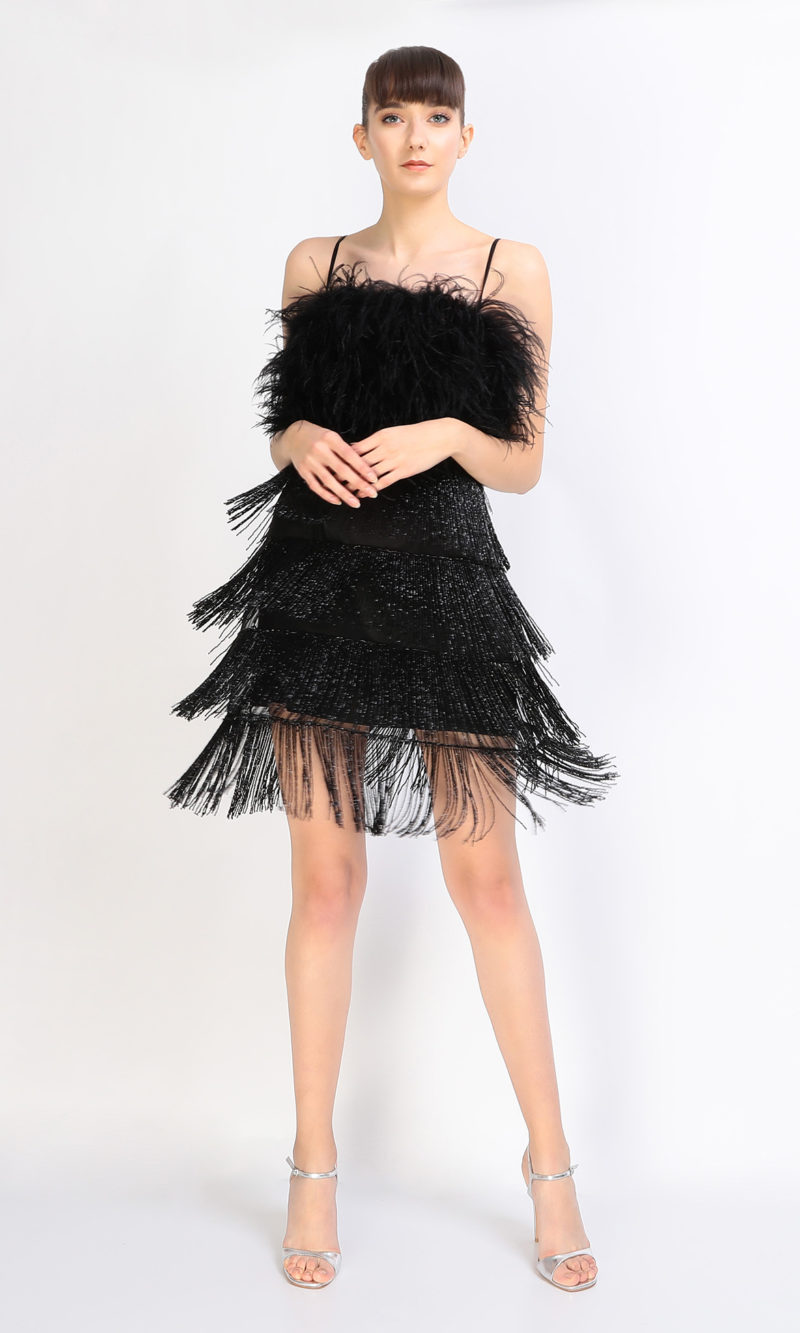 LARA black short evening dress
