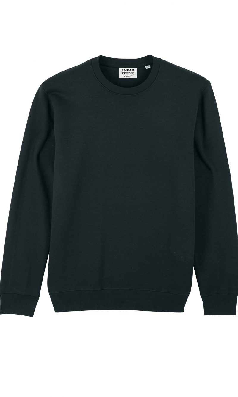 EXPLORER Black Organic cotton sweatshirt with silver embroidery on the back