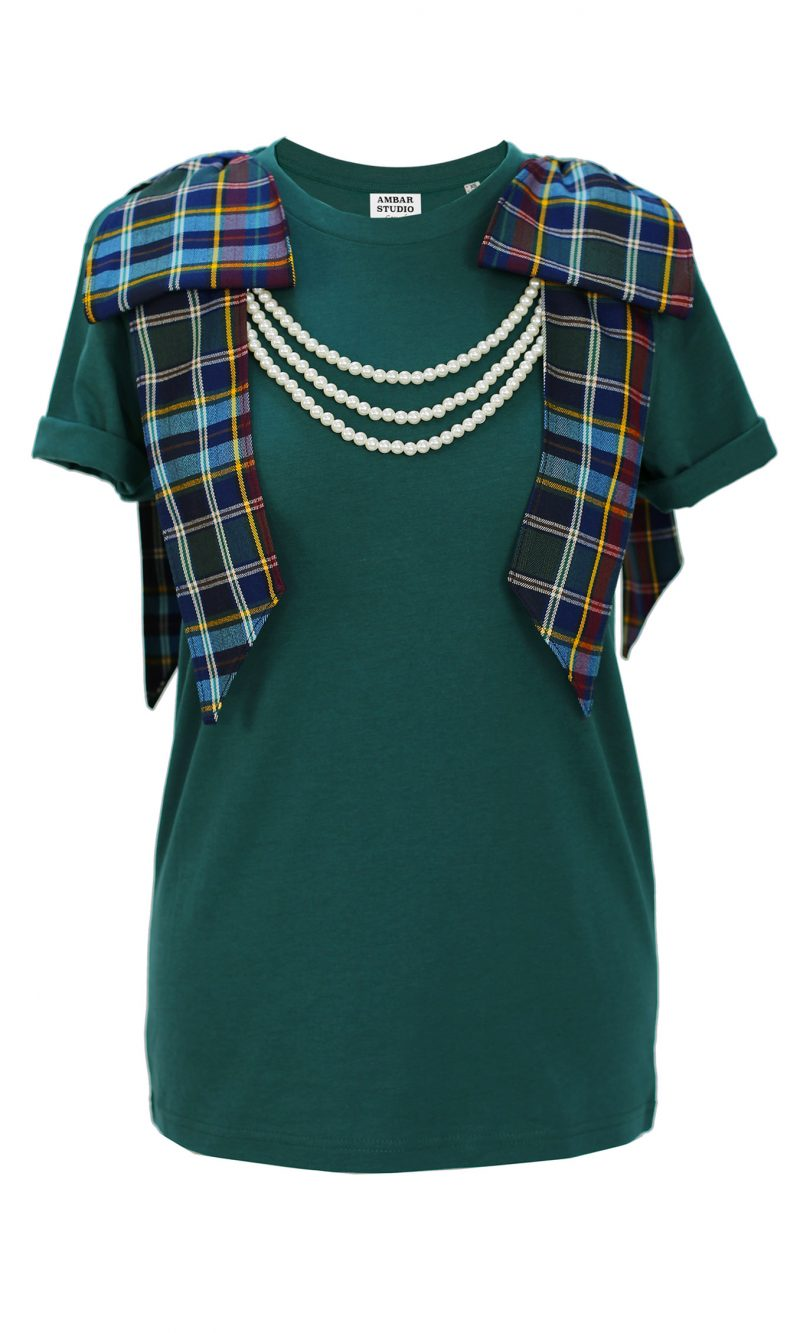 DANCER green organic cotton t-shirt with tartan bows and white pearls