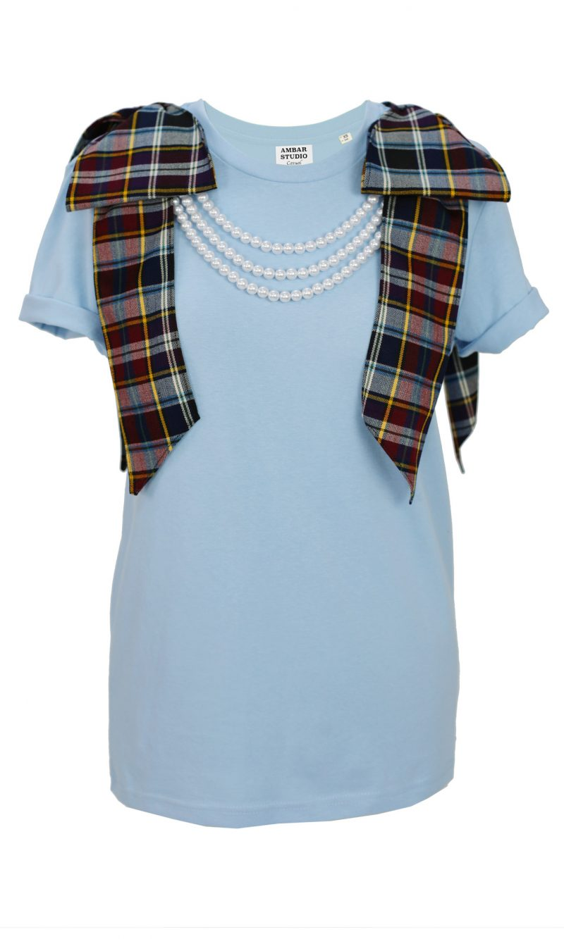 DANCER blue organic cotton t-shirt with tartan bows and white pearls