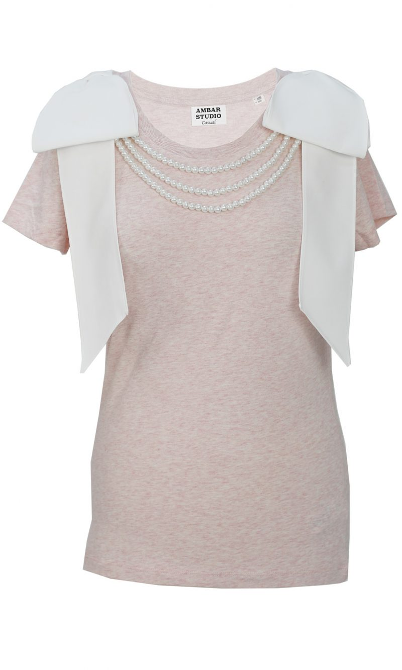 ARTIST pink organic cotton t-shirt with white bows and white pearls
