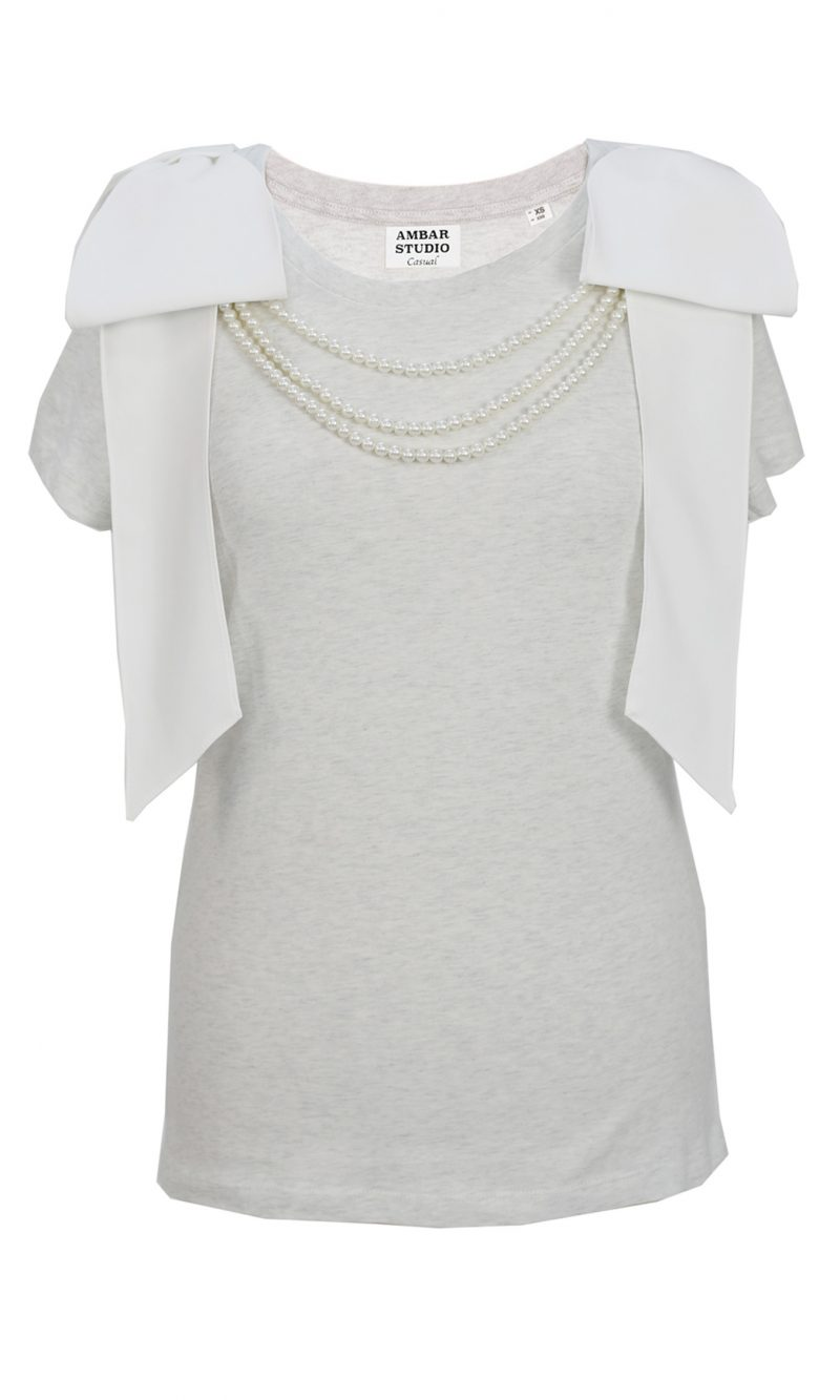 ARTIST grey organic cotton t-shirt with white bows and white pearls