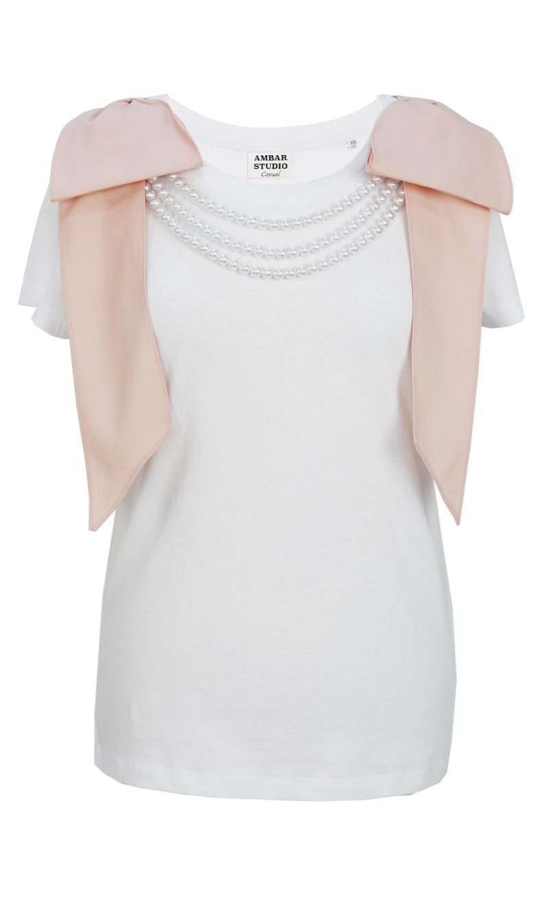 ARTIST white organic cotton tshirt with pink bows and white pearls