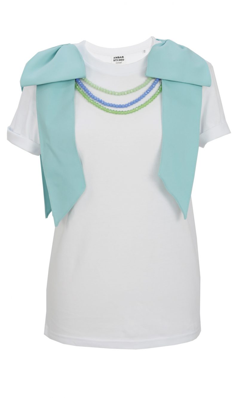 DANCER white organic cotton t-shirt with mint bows and crystals