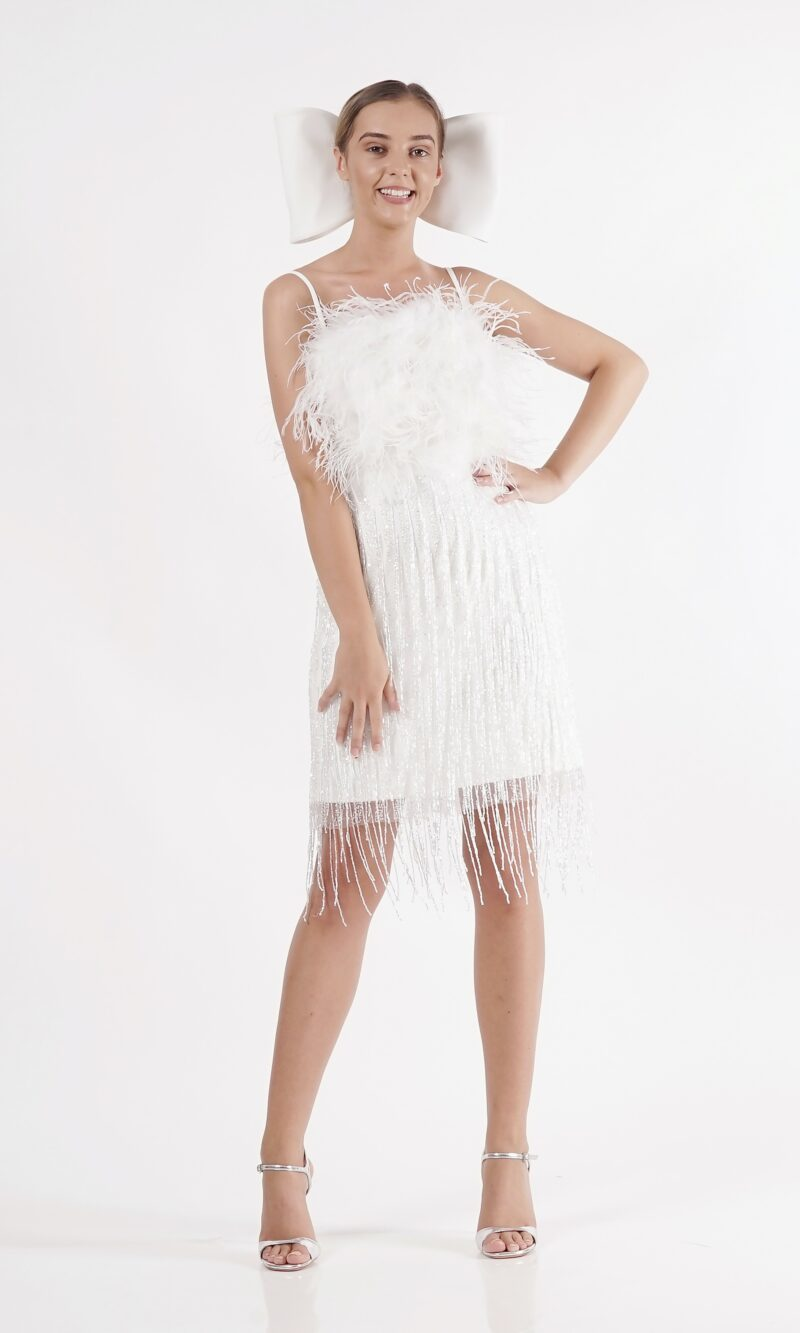 LARA white 20s party dress with feathers