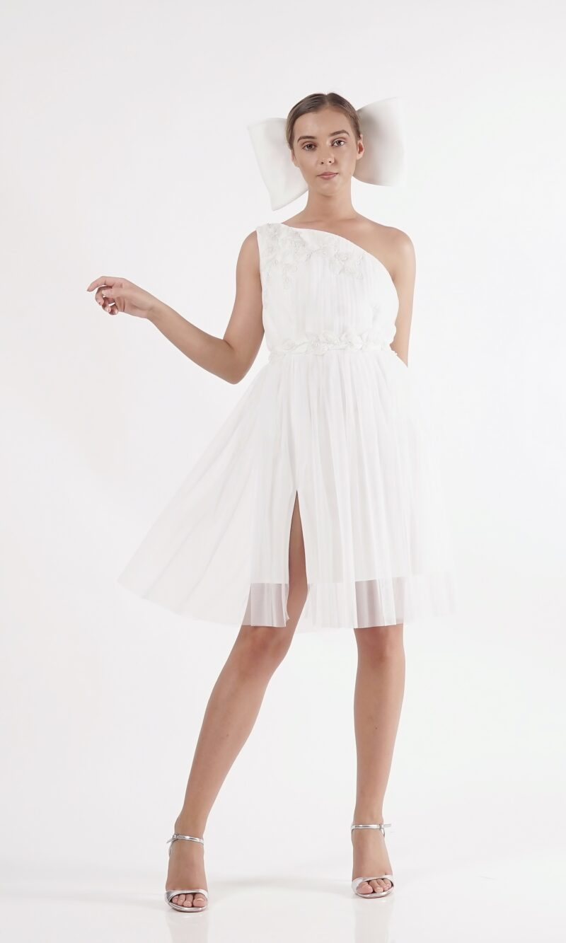 DESPINA white one shoulder party dress