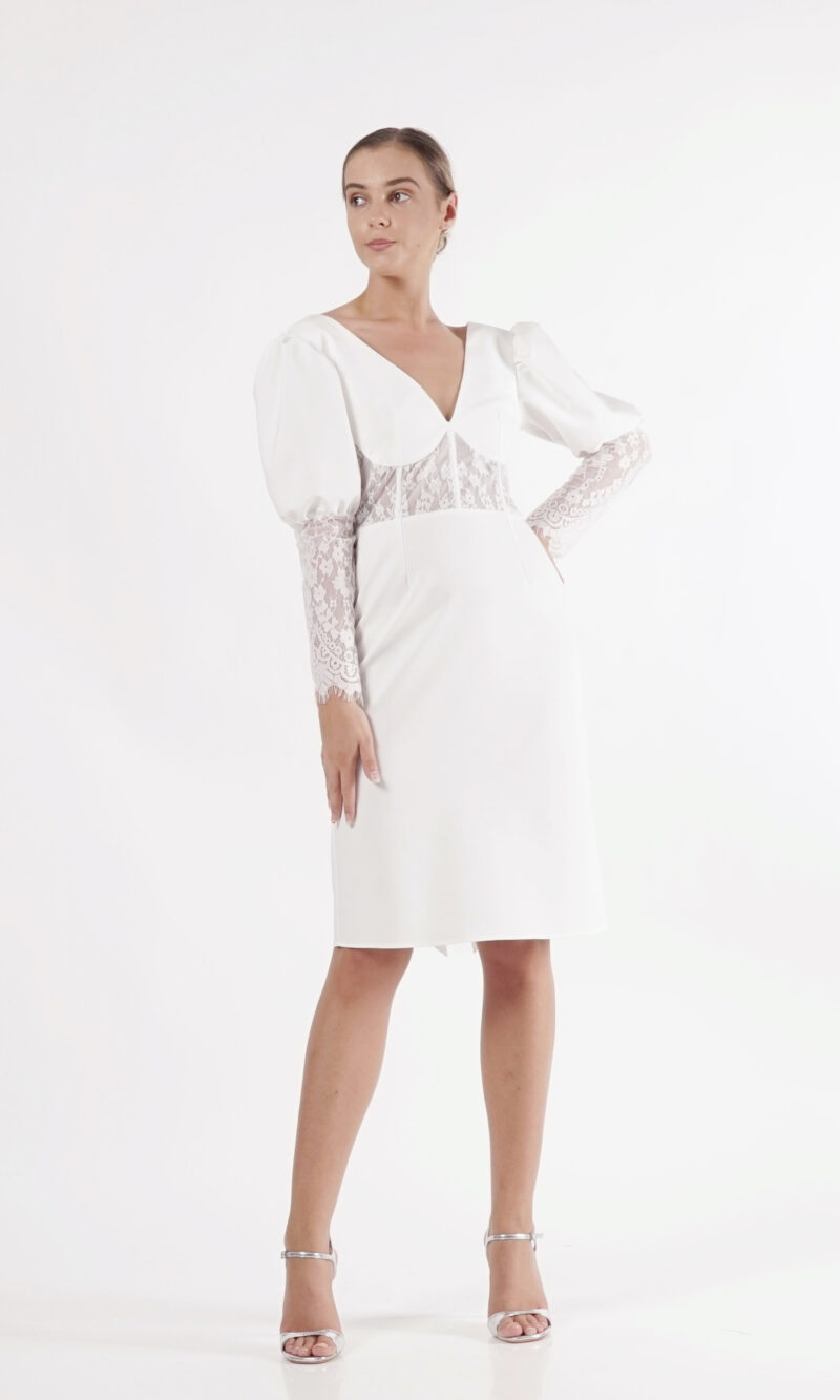 BROOKE white contemporary lace dress