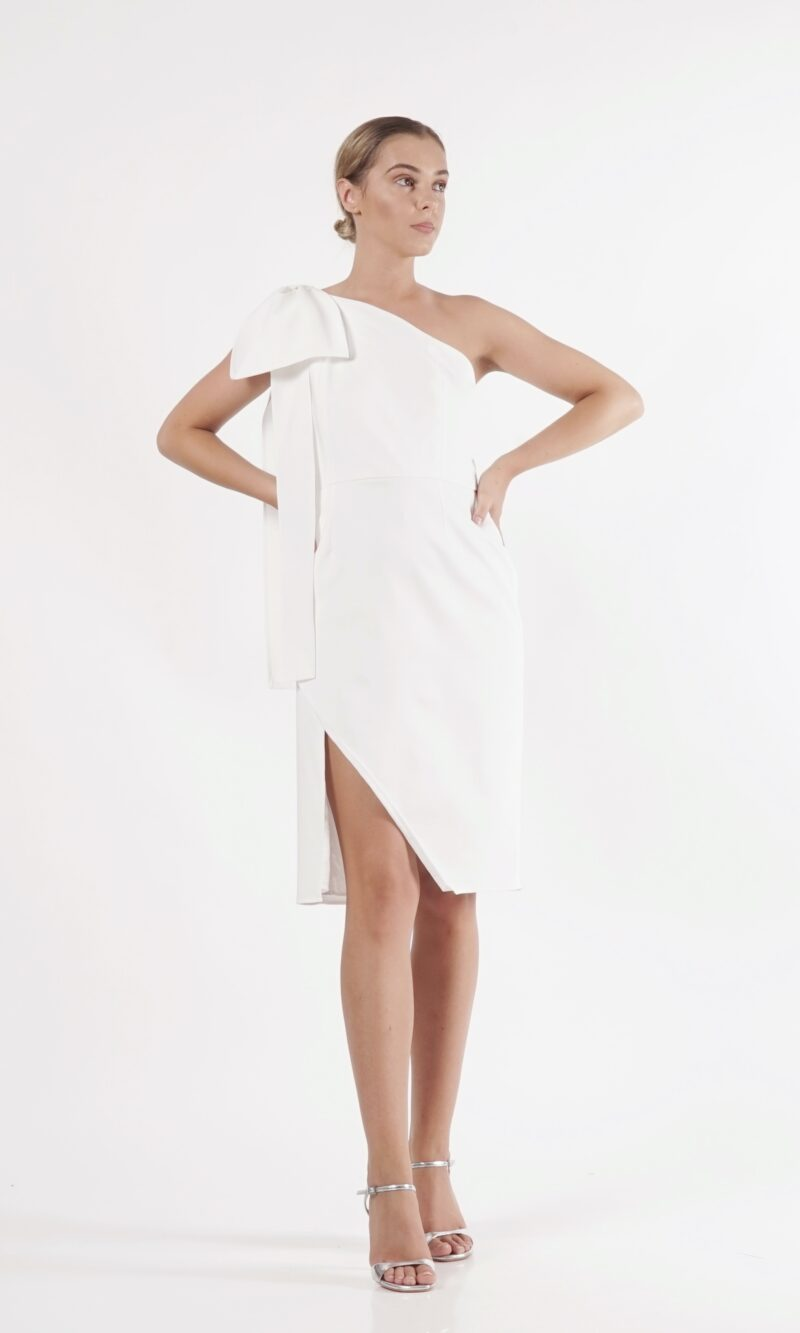 LIGIA white modern cocktail dress