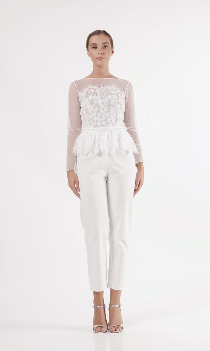 ESTERE white lace and cotton jumpsuit