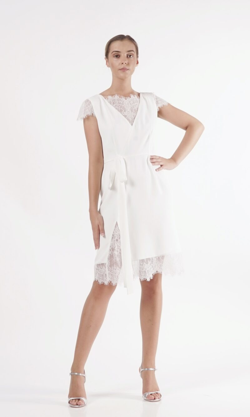 ADELA white modern lace mini dress