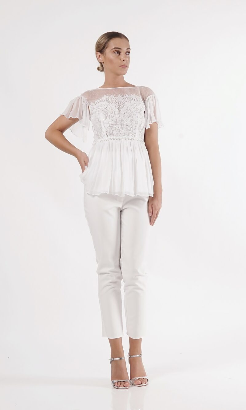 ELENI white lace and silk top