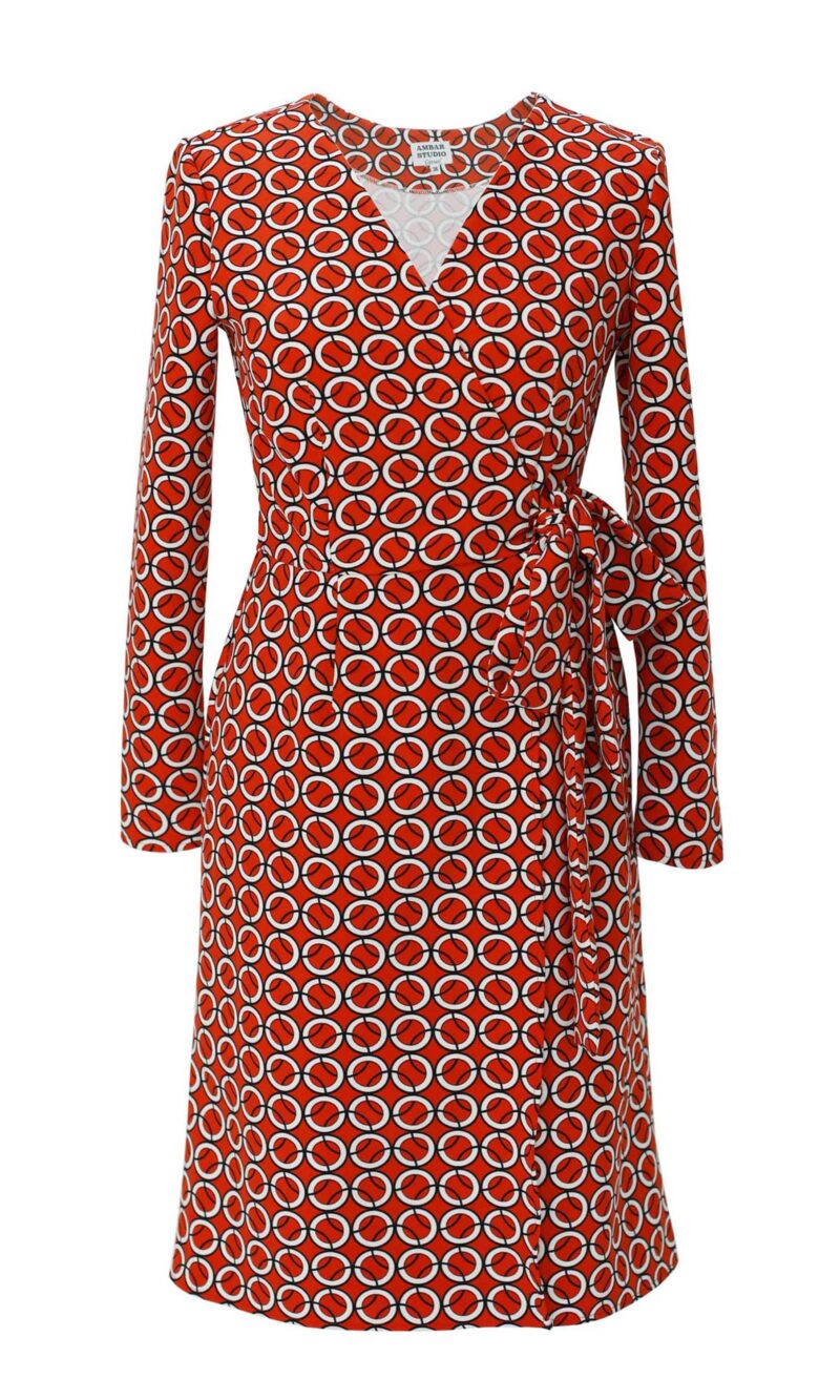 Adele red printed casual wrap dress