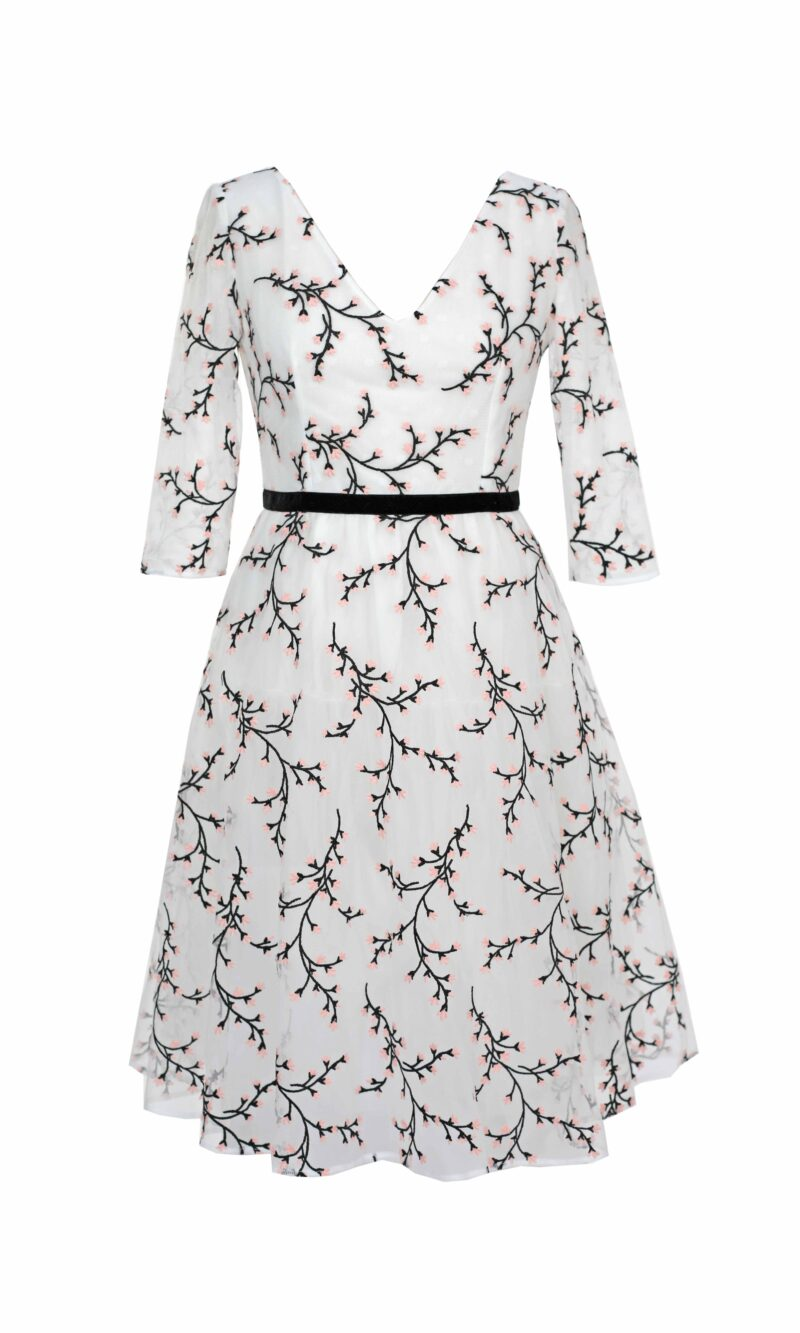 DEBIE cherry blossom embroidery white dress