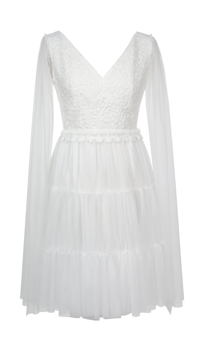 NADINE white embroidery and tulle dress